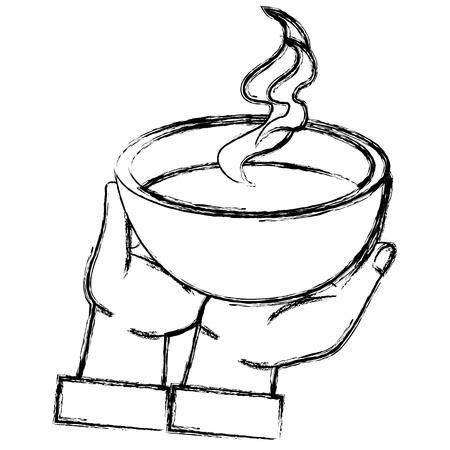hand lifting dish soup vector illustration design