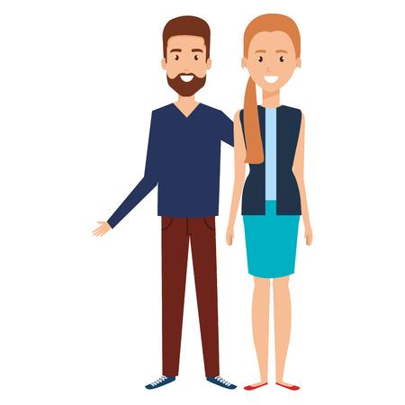 Young couple avatars Illustration