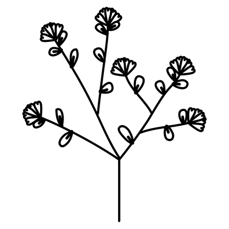 Black flowers and leafs illustration  イラスト・ベクター素材