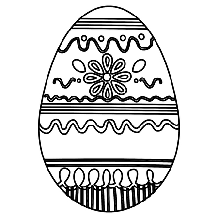 egg paint monochrome easter decoration vector illustration design
