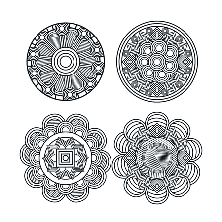 mandale monochrome art set styles vector illustration design Foto de archivo - 100317857
