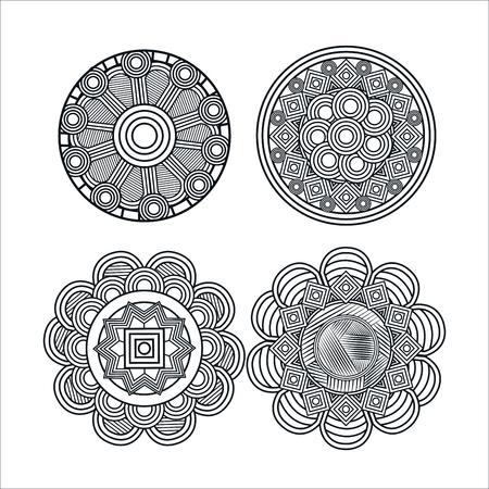 mandale monochrome art set styles vector illustration design