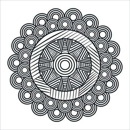 Diseño de ilustración de vector de icono de arte monocromo mandale