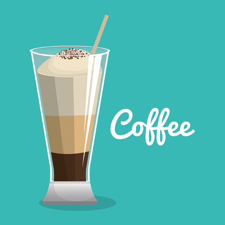 delicious coffee iced beverage vector illustration design Illustration