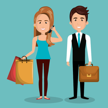 cartoon man and woman work and buy design graphic vector illustration eps 10