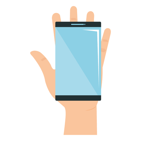Hand with smartphone device isolated icon vector illustration design.