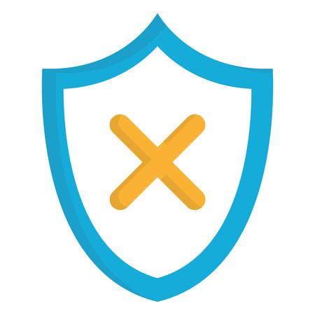 Shield with X icon vector illustration design. 일러스트