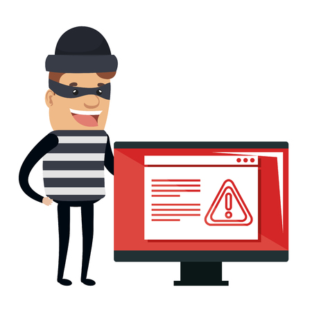 Thief bad with computer alert avatar character vector illustration design.