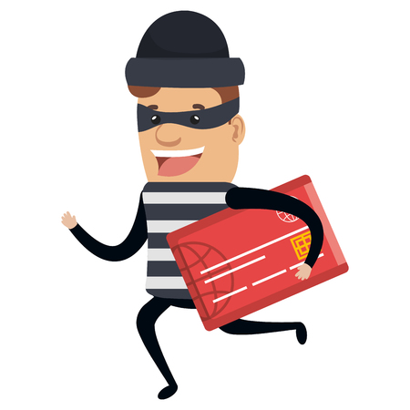 Thief bad running with credit card avatar character vector illustration design.
