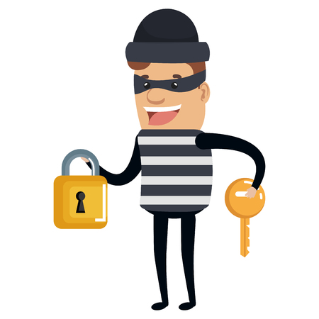 Thief bad with padlock and key avatar character vector illustration design.
