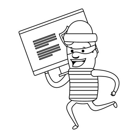 Thief bad running with computer vector illustration design.