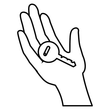 Hand human with key door vector illustration design. Illustration