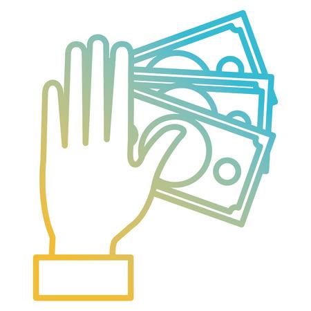 Hand with bills dollars money icon vector illustration design.