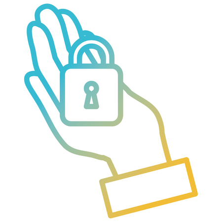 Hand with safe secure padlock icon vector illustration design.