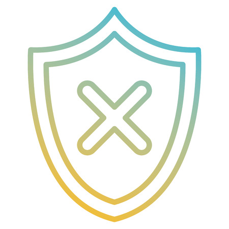 shield with X icon vector illustration design Ilustrace