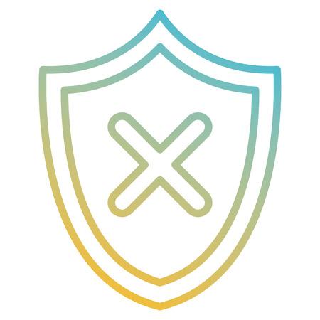 shield with X icon vector illustration design Illustration