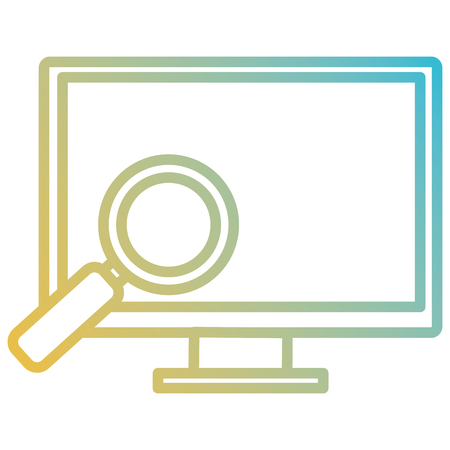 computer display with magnifying glass vector illustration design