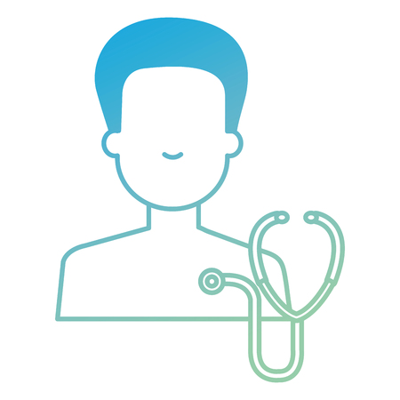 person shirtless with stethoscope avatar character vector illustration design