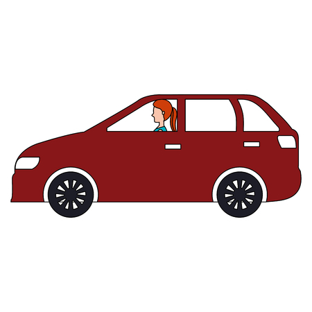 car sedan with woman driving vector illustration design