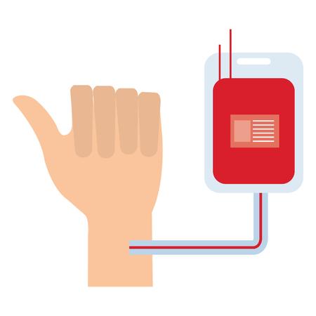hand with donate blood bag vector illustration design
