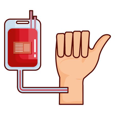 Hand with donate blood bag vector illustration design Illustration