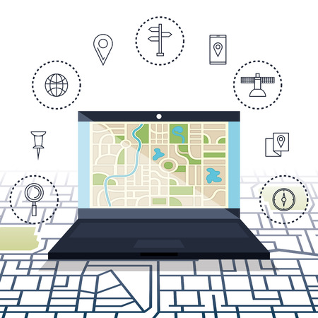 Laptop with GPS navigation software vector illustration design