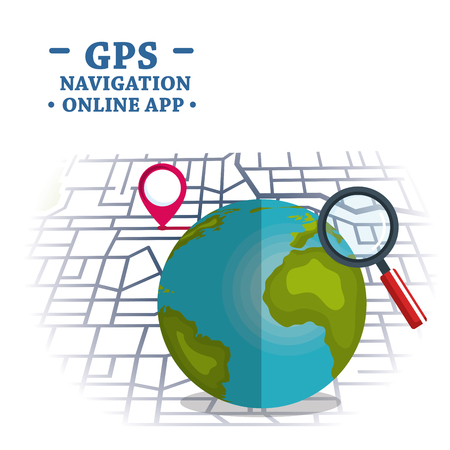 Planet with GPS navigation icons vector illustration design