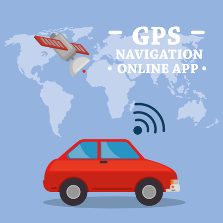 GPS navigation set icons vector illustration design