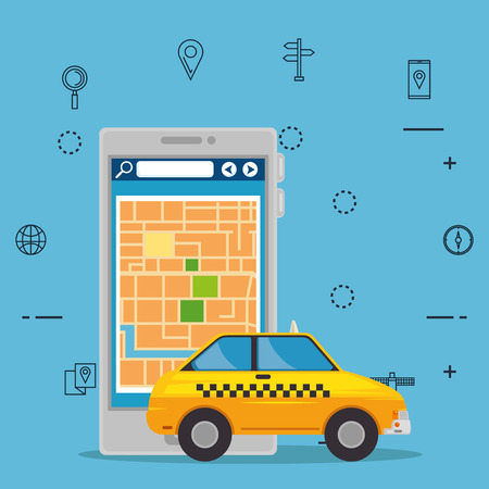 Illustration of a smartphone and taxi illustration design Çizim