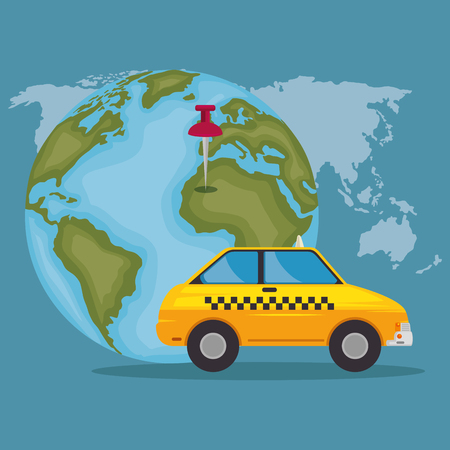 Globe with a pin and taxi icons vector illustration design