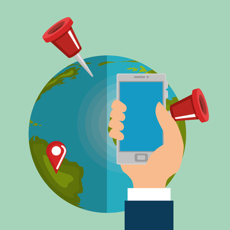 Illustration of a hand holding a smartphone with the planet earth Illustration