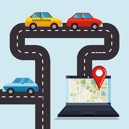 laptop with gps navigation software vector illustration design Banque d'images - 100453056