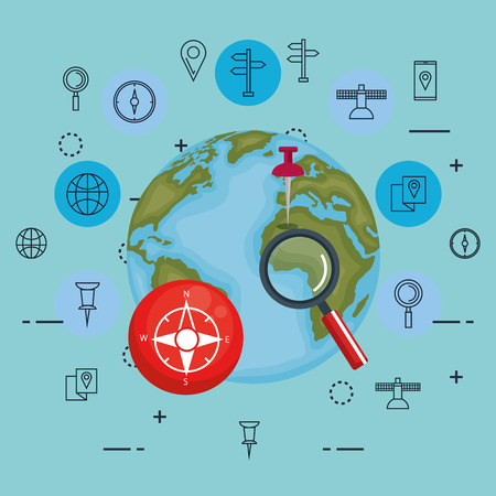 world planet with gps navigation icons vector illustration design
