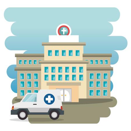 Hospital building with ambulance vector illustration design