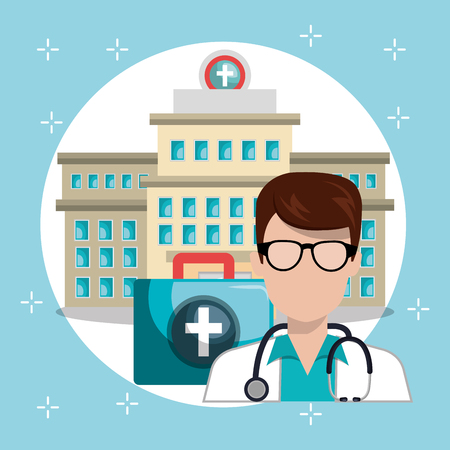 Doctor with a building vector illustration design