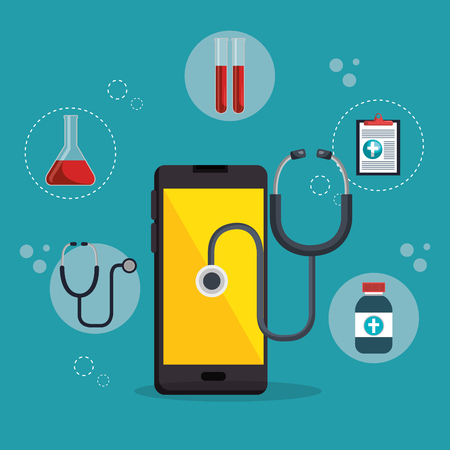 Illustration of a smartphone with medical elements design Ilustrace