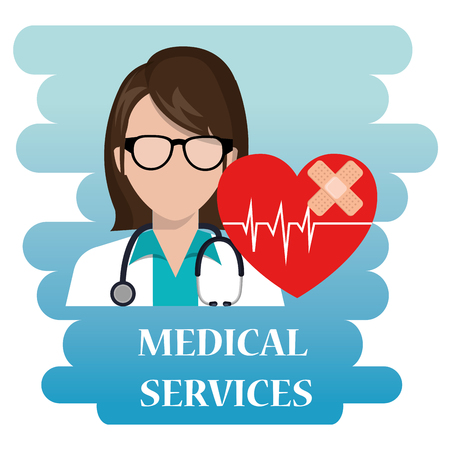 Medical services poster with a woman doctor illustration design