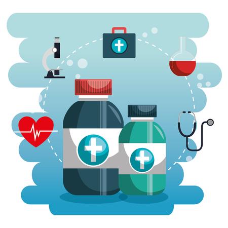 Medical set icons of medicine and instruments illustration design