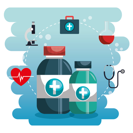Medical set icons of medicine and instruments illustration design