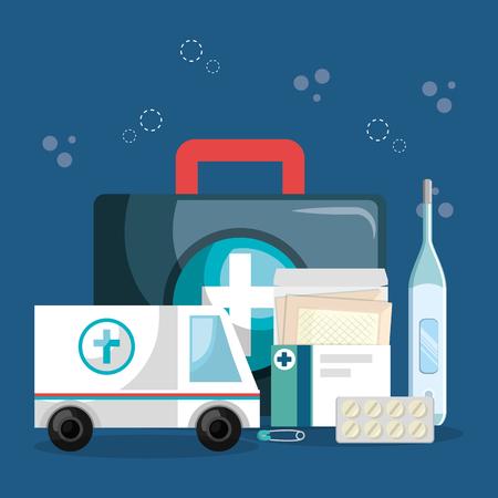Medical service set icons vector illustration design Stockfoto - 100458543