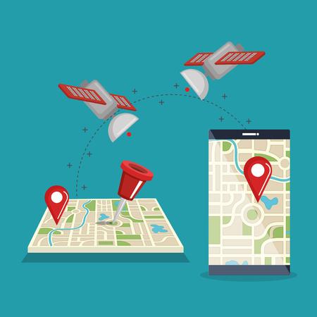 smartphone with gps navigation app vector illustration design Stockfoto