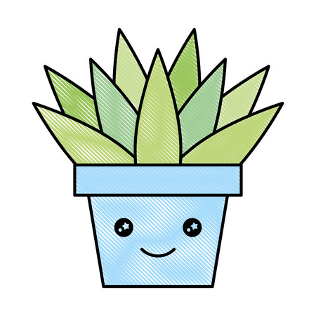 Potted plant cartoon happy vector illustration