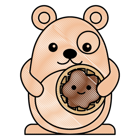mouse cookie cartoon character vector illustration drawing Illustration