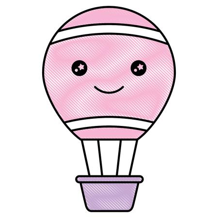 cartoon hot air balloon decoration vector illustration drawing