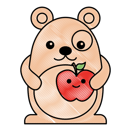 cartoon mouse apple fruit character vector illustration drawing