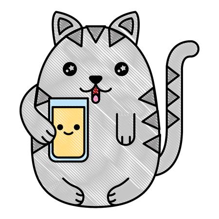 cat holding glass juicy cartoon vector illustration drawing