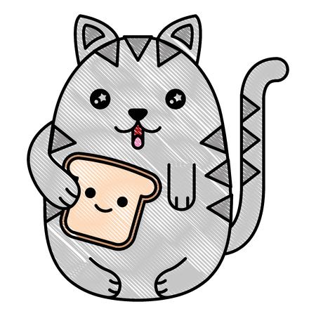 cat holding bread food cartoon vector illustration drawing Stock Illustratie