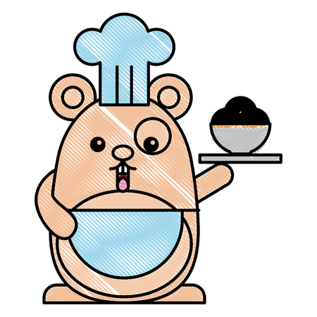 chef mouse with sweet pastry cartoon vector illustration drawing