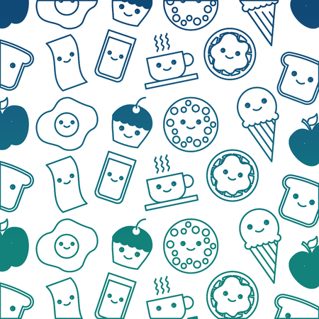 sweet cookie ice cream chocolate waffle pattern vector illustration sketch