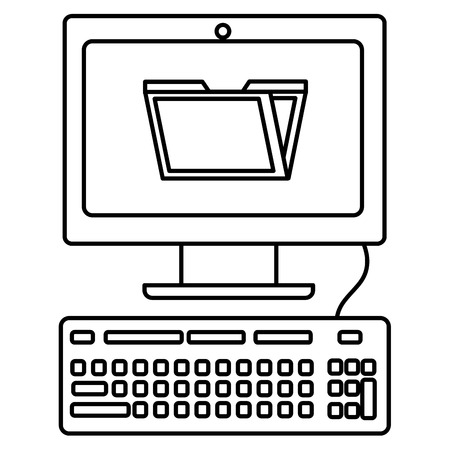 desktop computer with folder document vector illustration